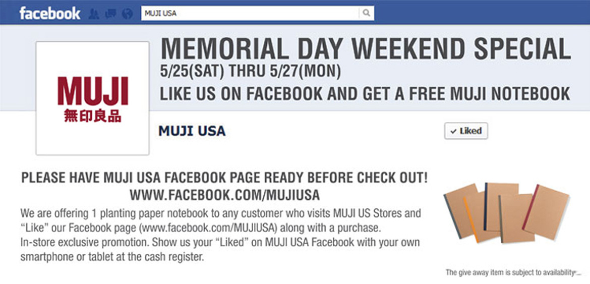 MUJI offers a Special Promotion for Memorial Day Weekend